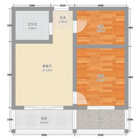 怡甸庄园2室2厅1卫1厨64.00㎡户型图