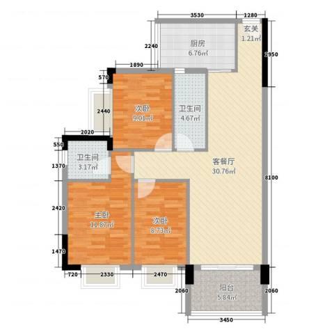 阳东幸福家园3室2厅2卫1厨101.00㎡户型图