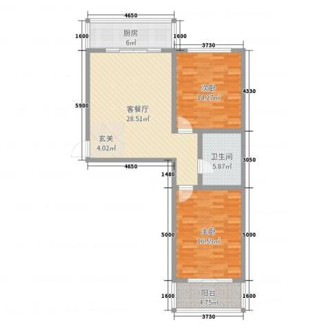 怡甸庄园2室2厅1卫1厨85.00㎡户型图