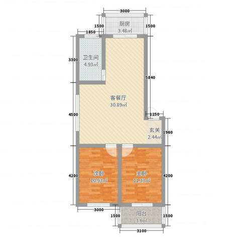 怡甸庄园2室2厅1卫1厨88.00㎡户型图