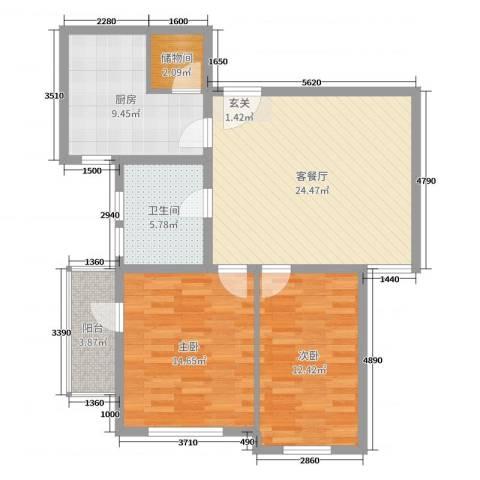 金河名都2室2厅1卫1厨91.00㎡户型图