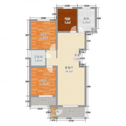 名人国际花园3室2厅1卫1厨106.00㎡户型图