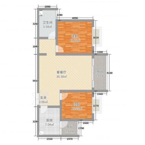 上城2室2厅1卫1厨94.00㎡户型图