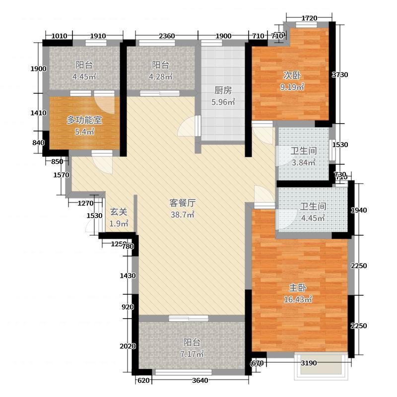 奕铭・阳光城125.22㎡户型3室3厅2卫1厨