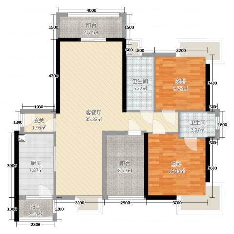 翔龙天地2室2厅2卫1厨109.00㎡户型图