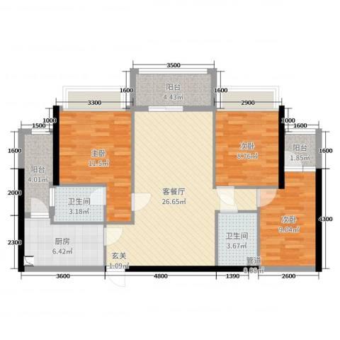 翔龙天地3室2厅2卫1厨96.00㎡户型图