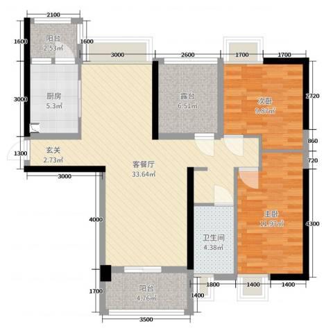 翔龙天地2室2厅1卫1厨99.00㎡户型图