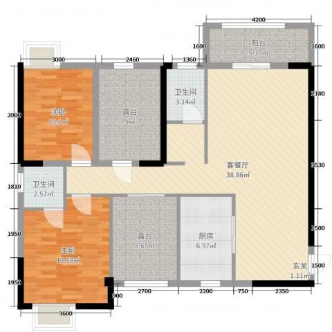 山水华庭2室2厅2卫1厨120.00㎡户型图
