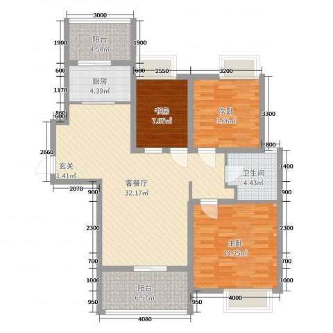 合生滨海城3室2厅1卫1厨113.00㎡户型图