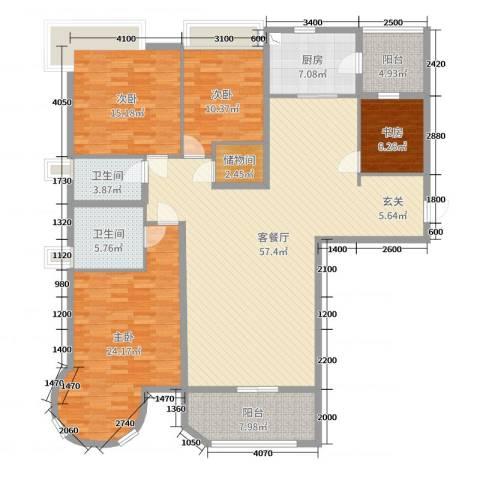 合生滨海城4室2厅2卫1厨181.00㎡户型图