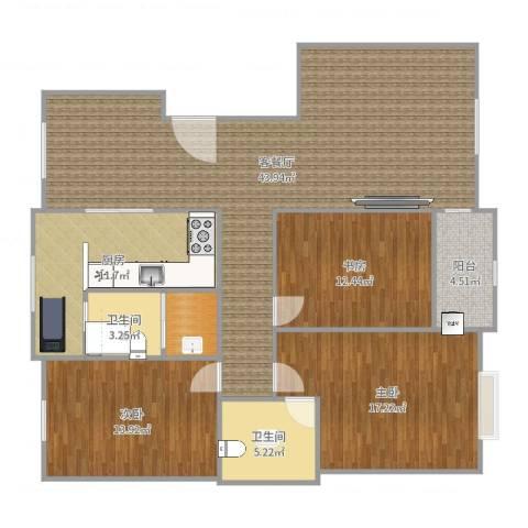 越秀园宋女士3室2厅3卫1厨143.00㎡户型图
