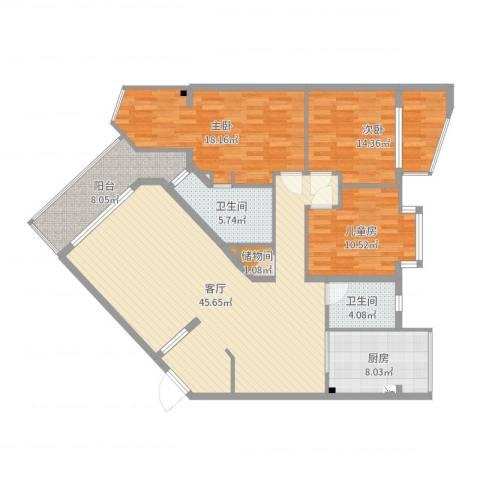 洋河龙山国际3室1厅2卫1厨145.00㎡户型图