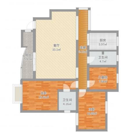 东苑怡景园3室1厅2卫1厨124.00㎡户型图