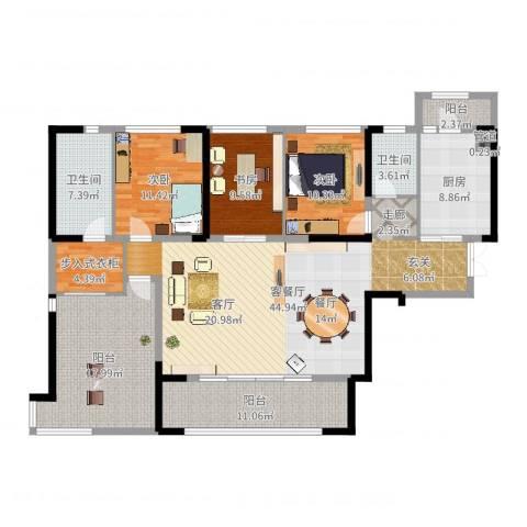 万科紫台3室2厅2卫1厨165.00㎡户型图
