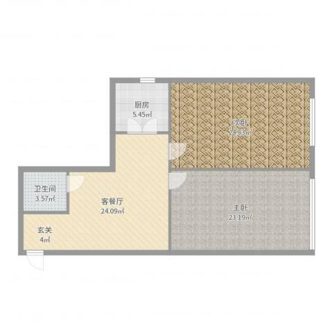 番禺大厦2室2厅1卫1厨101.00㎡户型图