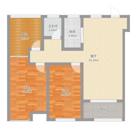 宝能城市广场2室1厅1卫1厨101.00㎡户型图