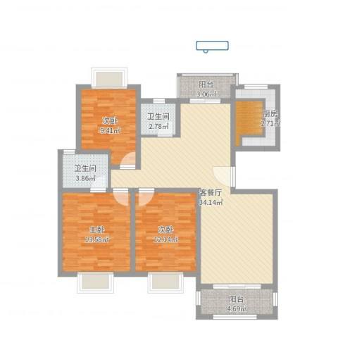 御林华府3室2厅2卫1厨111.00㎡户型图