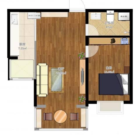 紫金城1室1厅1卫1厨50.00㎡户型图