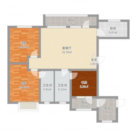 华发九龙湾中心3室2厅2卫1厨124.00㎡户型图