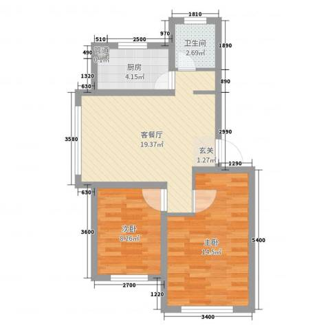中央上城2室2厅1卫1厨65.00㎡户型图