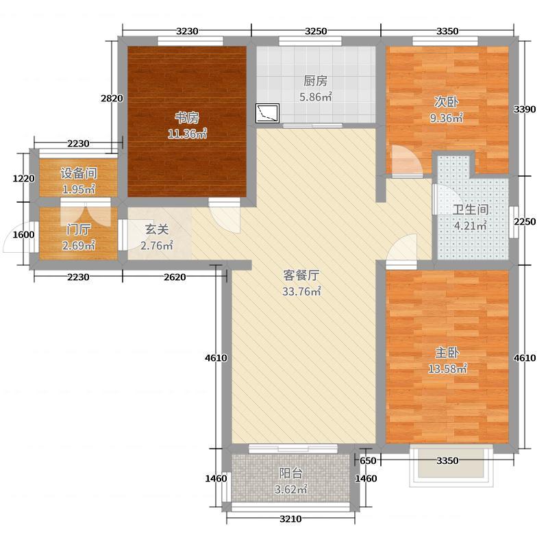 侍郎房・藕园108.00㎡3#楼01户型3室3厅1卫1厨