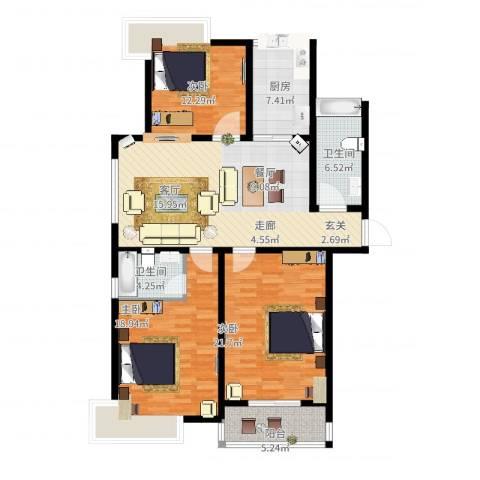 爱琴海花园3室2厅2卫1厨154.00㎡户型图
