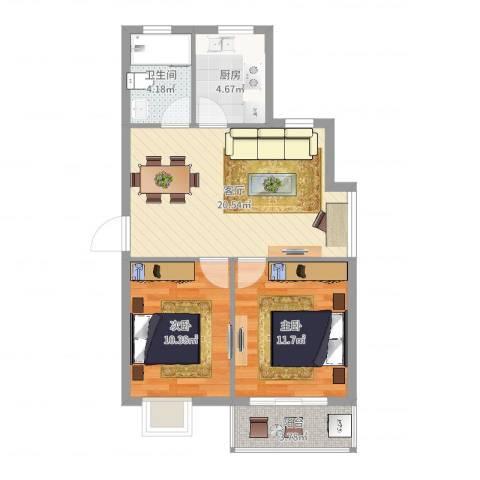 碧水和城2室1厅1卫1厨69.00㎡户型图