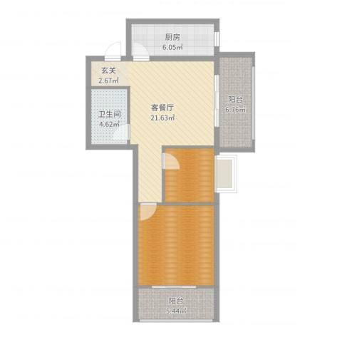 来福花园1室2厅1卫1厨64.63㎡户型图