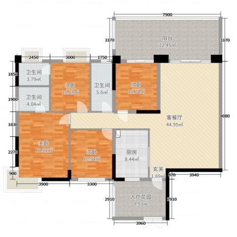 聚豪园4室2厅3卫1厨167.00㎡户型图