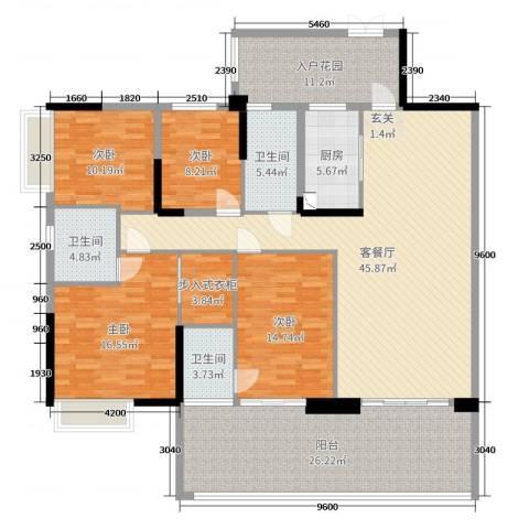 聚豪园4室2厅3卫1厨168.00㎡户型图