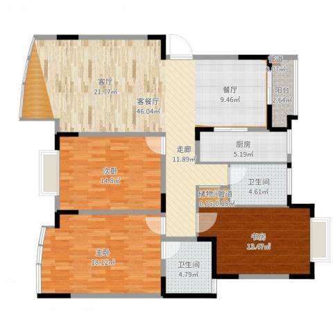 嘉禾现代城3室2厅2卫1厨138.00㎡户型图