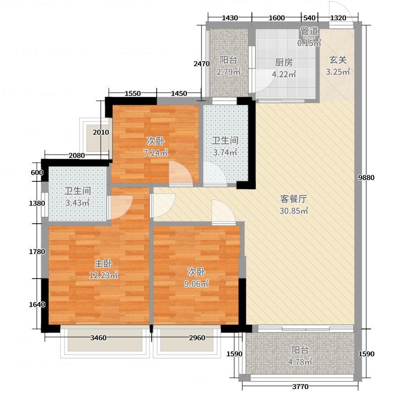 恒大翡翠华庭103.00㎡9、10、13、14栋03/04户型3室3厅2卫1厨