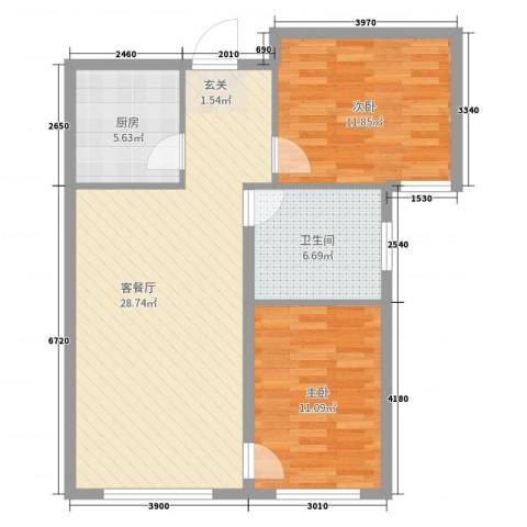颐和花园三期2室2厅1卫1厨80.00㎡户型图