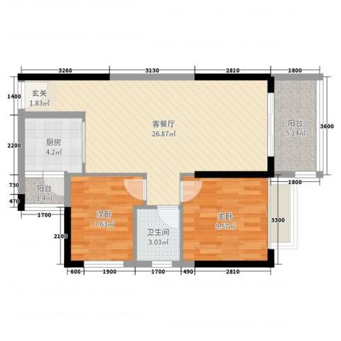 港湾江城2室2厅1卫1厨80.00㎡户型图