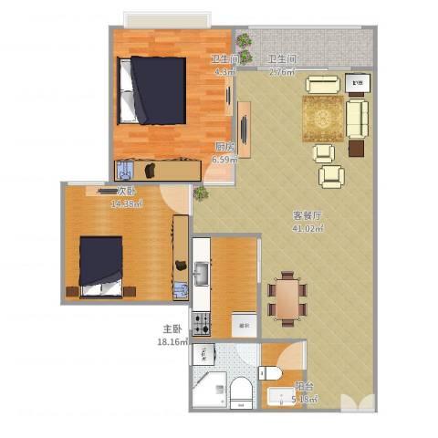 佳境天城2室2厅2卫1厨115.00㎡户型图