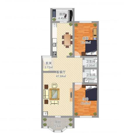 锦江花园2室2厅2卫1厨112.00㎡户型图