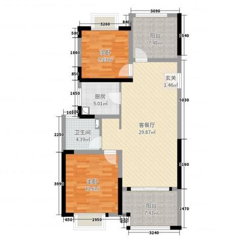 路劲城市主场2室2厅1卫1厨95.00㎡户型图