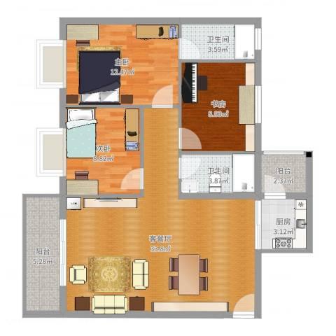东汇家园3室2厅2卫1厨103.00㎡户型图
