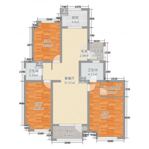荣盛华府3室2厅2卫1厨135.00㎡户型图