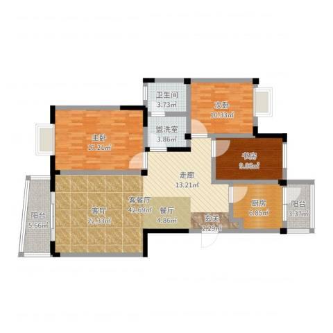 阳城景园3室2厅1卫1厨128.00㎡户型图