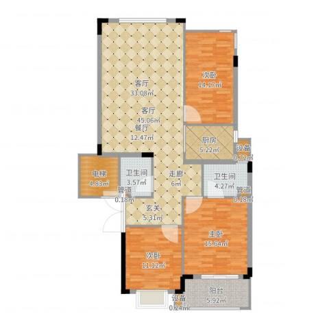 白云山庄3室1厅2卫1厨122.00㎡户型图