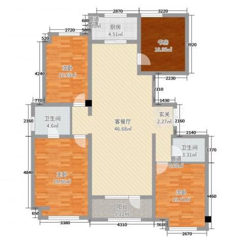 荣盛华府4室2厅2卫1厨151.00㎡户型图