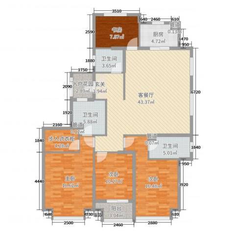 荣盛华府4室2厅3卫1厨158.00㎡户型图