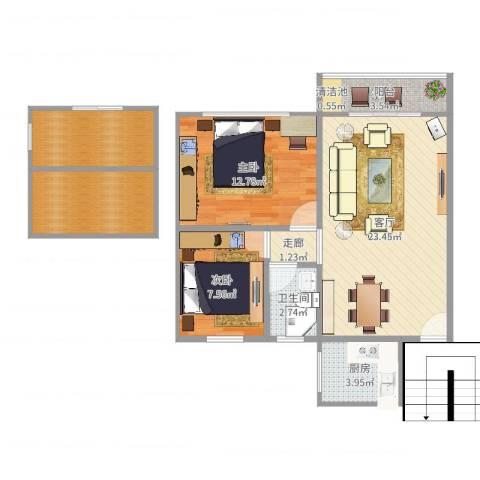 翡翠山庄2室1厅1卫1厨67.73㎡户型图
