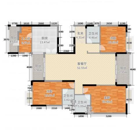 东田翠湖湾二期3室2厅3卫1厨193.00㎡户型图