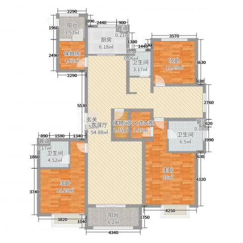 荣盛华府3室2厅3卫1厨178.00㎡户型图