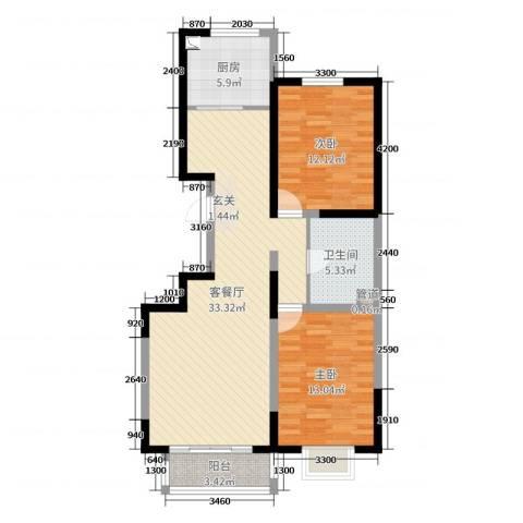 水木年华2室2厅1卫1厨110.00㎡户型图