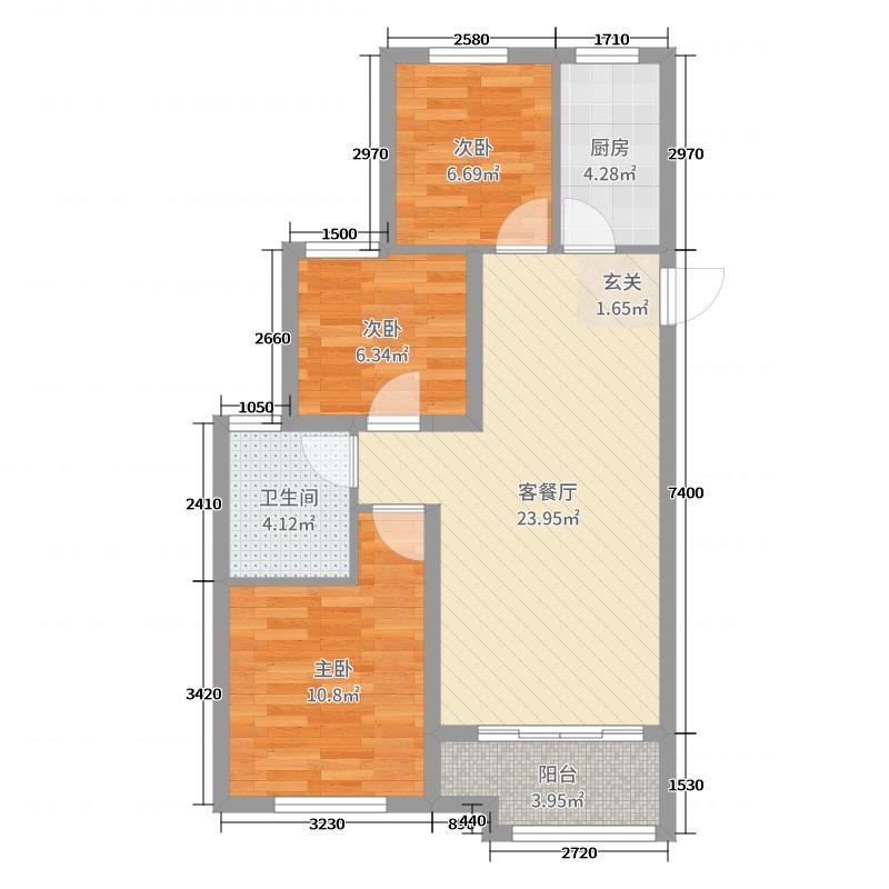 恒大港湾94.19㎡A2区3号楼B户型3室3厅1卫1厨