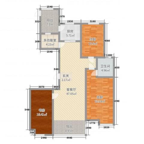 高新名门3室2厅1卫1厨150.00㎡户型图