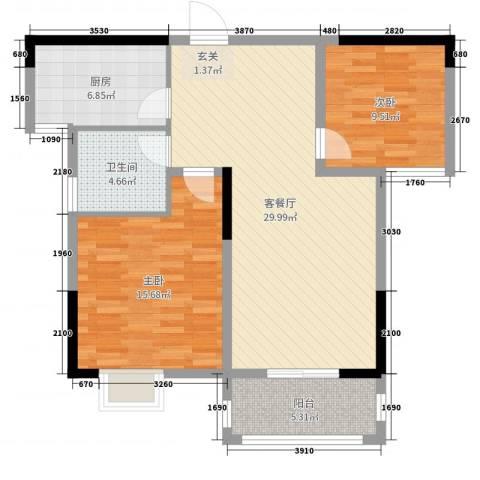 东方体育城2室2厅1卫1厨90.00㎡户型图